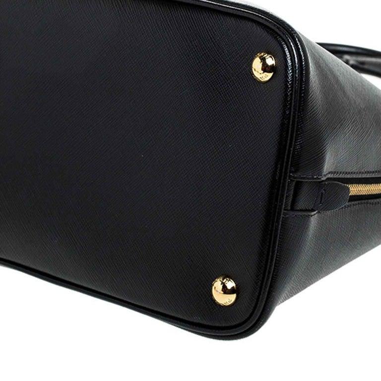 Prada Black Saffiano Lux Leather Promenade Bag For Sale 4