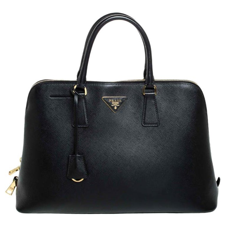 Prada Black Saffiano Lux Leather Promenade Bag For Sale