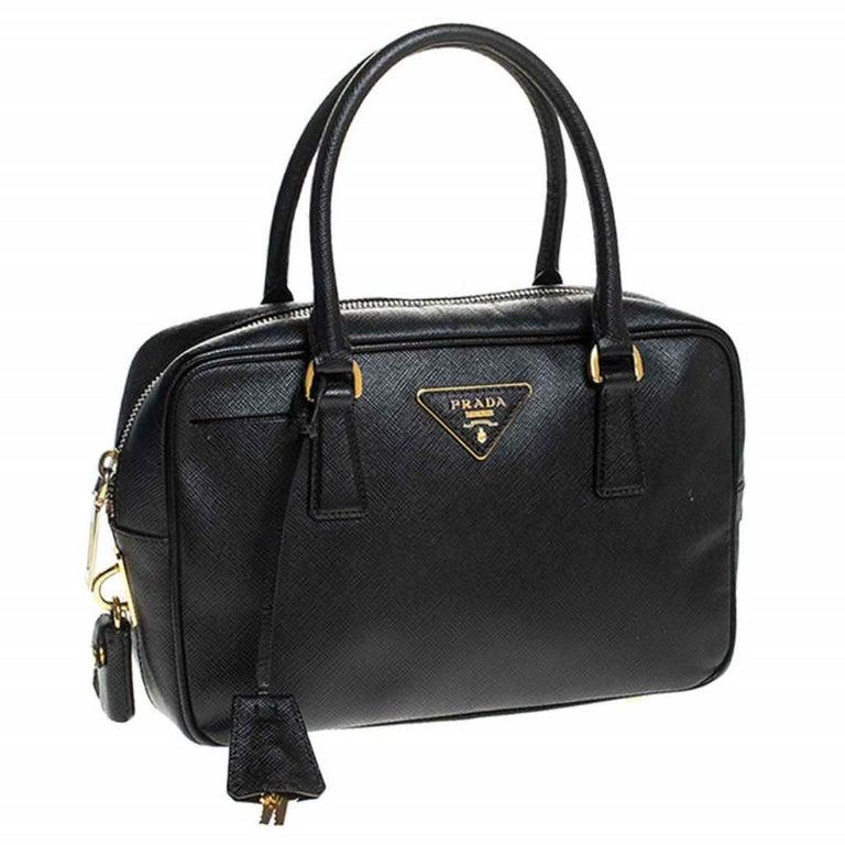 Women's Prada Black Saffiano Lux Leather Satchel For Sale