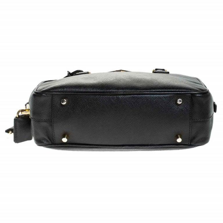 Prada Black Saffiano Lux Leather Satchel For Sale 1
