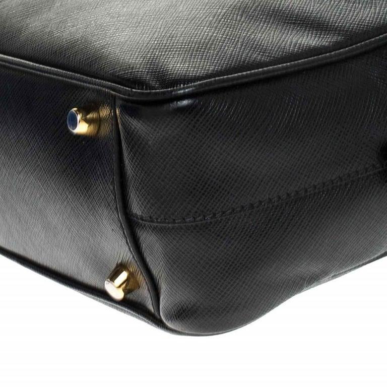 Prada Black Saffiano Lux Leather Satchel For Sale 2