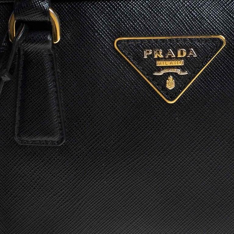 Prada Black Saffiano Lux Leather Satchel For Sale 3