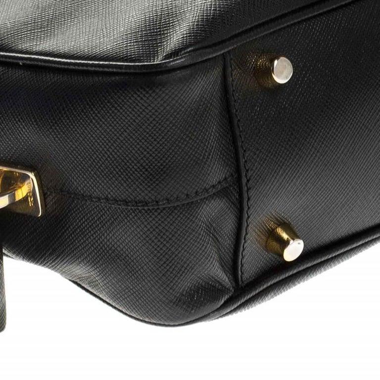 Prada Black Saffiano Lux Leather Satchel For Sale 4