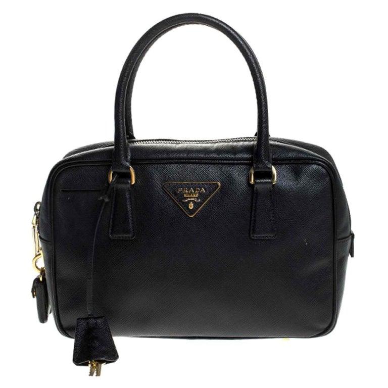 Prada Black Saffiano Lux Leather Satchel For Sale