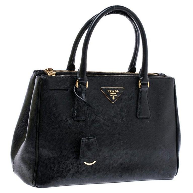 Women's Prada Black Saffiano Lux Leather Small Double Zip Tote For Sale