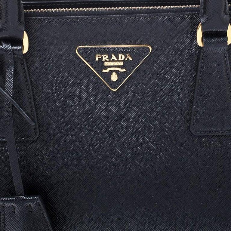 Prada Black Saffiano Lux Leather Small Double Zip Tote For Sale 2