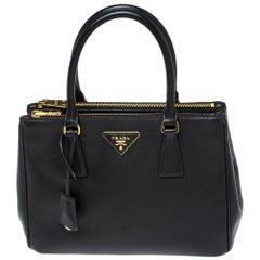 Prada Black Saffiano Lux Leather Small Double Zip Tote