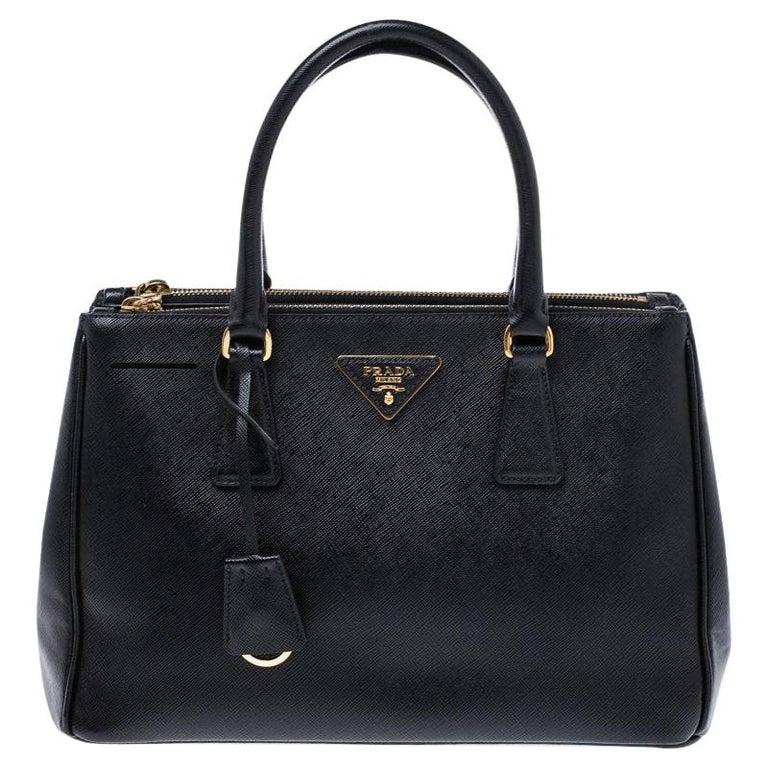 Prada Black Saffiano Lux Leather Small Double Zip Tote For Sale