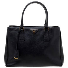 Prada Black Saffiano Lux Leather Small Galleria Tote