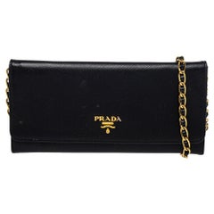 Prada Black Saffiano Lux Leather Wallet on Chain