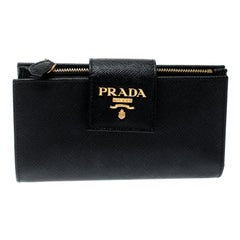 Prada Black Saffiano Metal Leather Continental Wallet