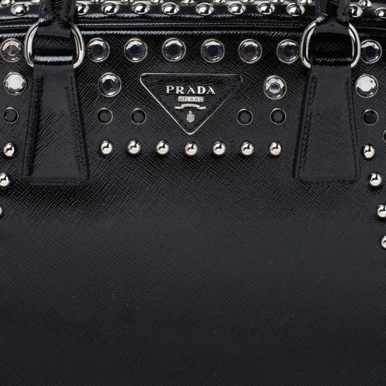 Prada Black Saffiano Patent Leather Studded Pyramid Frame Satchel For Sale 2