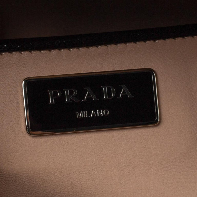 Prada Black Saffiano Patent Leather Studded Pyramid Frame Satchel For Sale 3