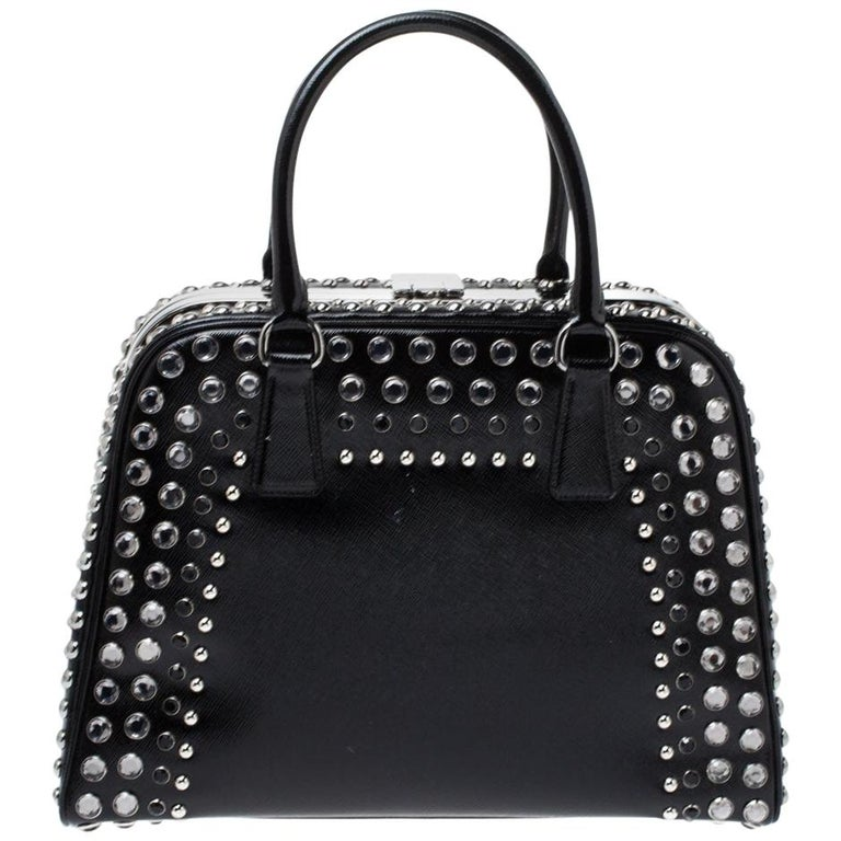 Prada Black Saffiano Patent Leather Studded Pyramid Frame Satchel For Sale