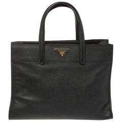 Prada Black Saffiano Soft Leather Triple Pocket Tote