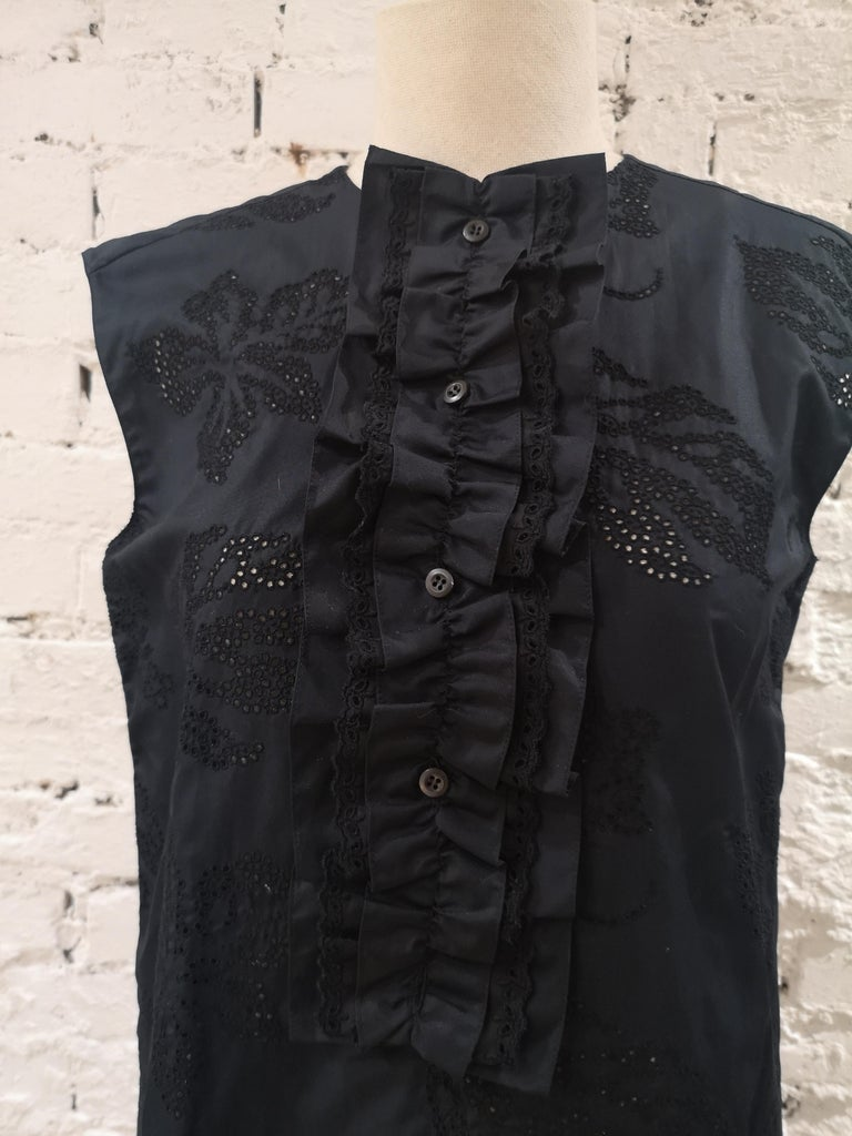 Prada Black Sangallo NWOT Dress Sangallo dress, chemisier, can easily oper on both sides totally made in italy in size 38 NWOT total lenght 93 cm