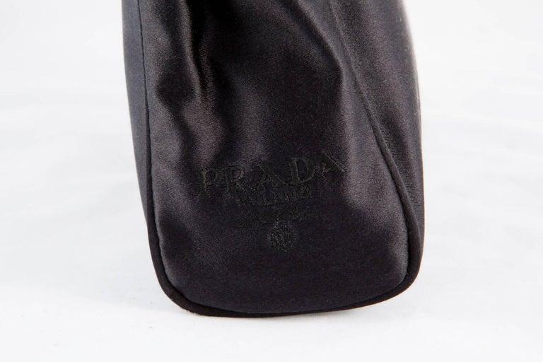 Women's Prada Black Satin Evening Tote Bag For Sale
