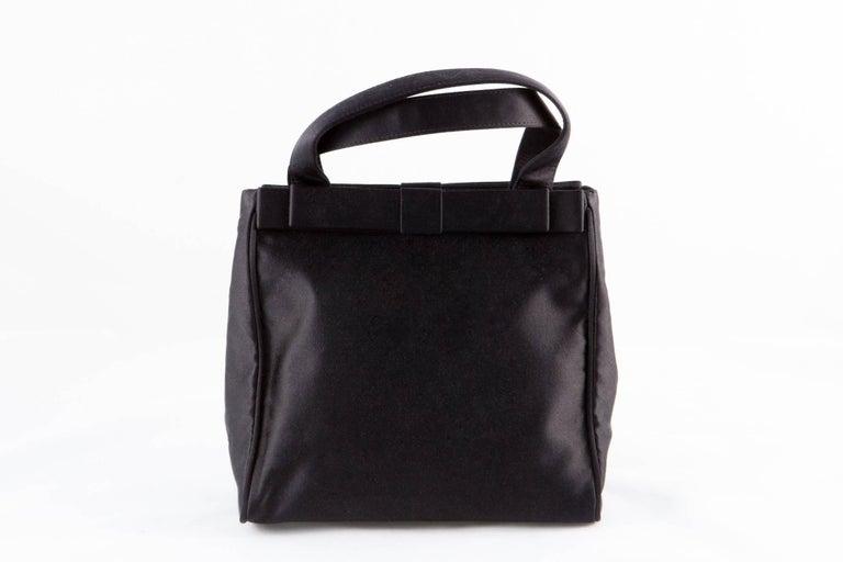 Prada Black Satin Evening Tote Bag For Sale 2