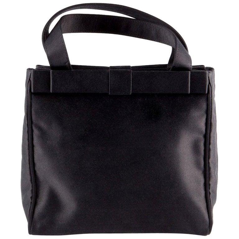 Prada Black Satin Evening Tote Bag For Sale