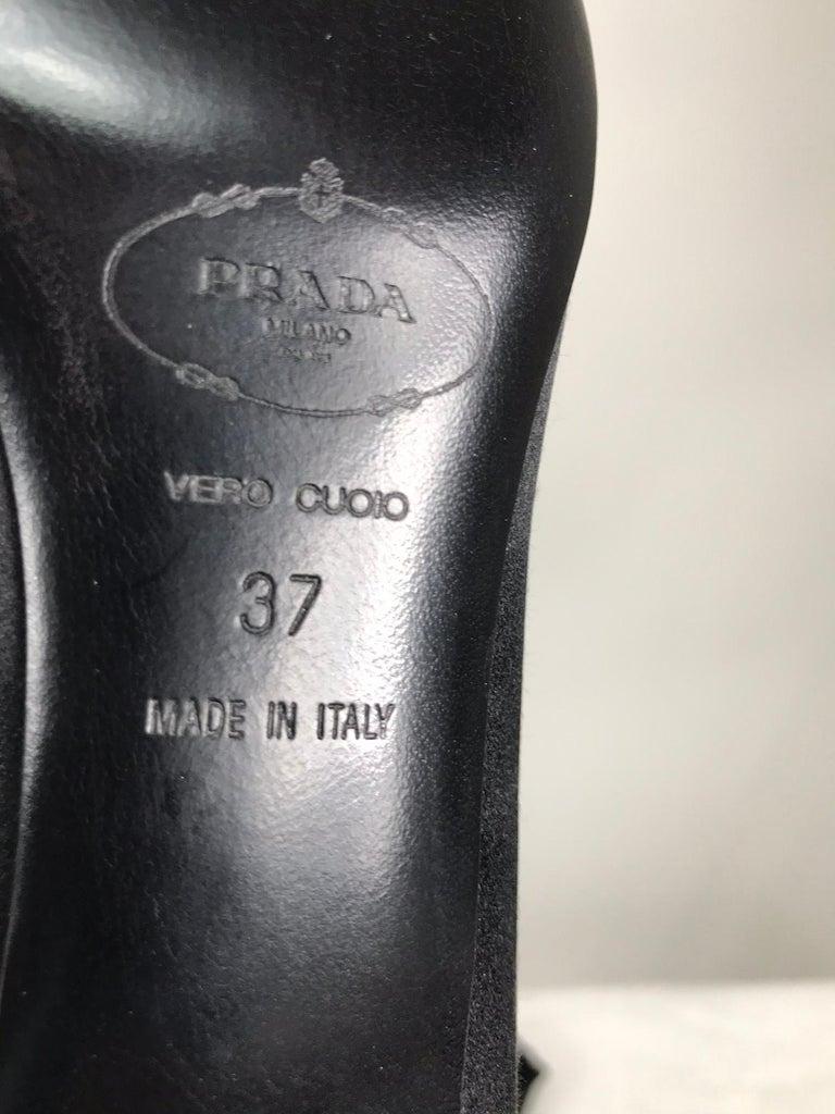 Prada Black Satin Open Toe Bow Front Low Silver Heel Pump 37 Unworn 3