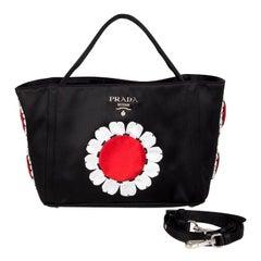 PRADA black satin RASO FLOWER Basket Tote Bag