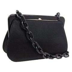 Prada Black Satin Small Mini Plastic Kiss Lock Shoulder Evening Bag