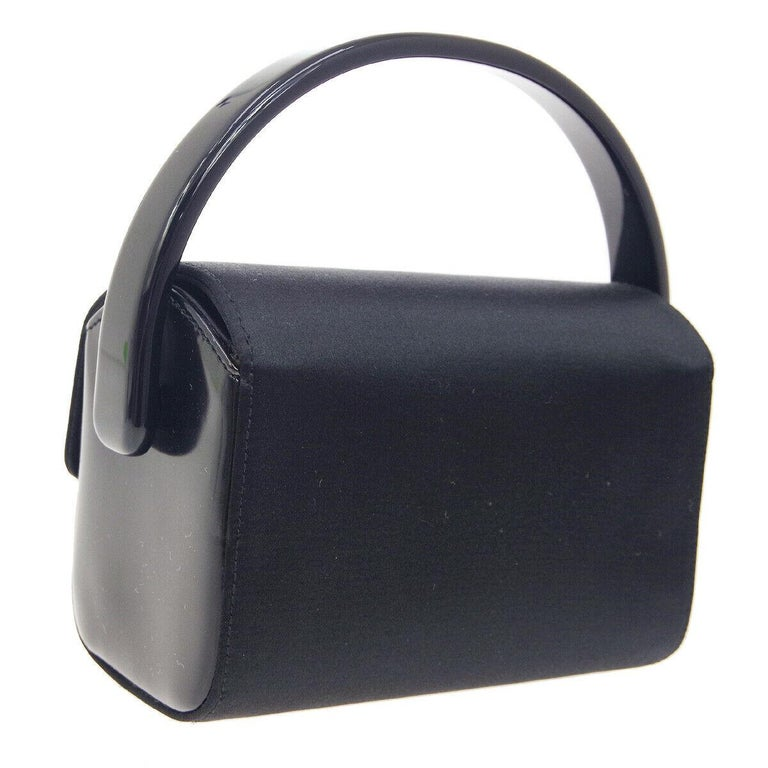 Women's Prada Black Satin Small Mini Plastic Top Handle Satchel Kelly Style Evening Bag For Sale