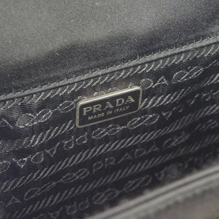 Prada Black Satin Small Mini Plastic Top Handle Satchel Kelly Style Evening Bag For Sale 2