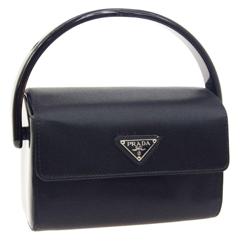 Prada Black Satin Small Mini Plastic Top Handle Satchel Kelly Style Evening Bag For Sale
