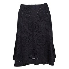Prada Black Schiffli Embroidered Cotton A Line Skirt M