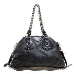 Prada Black Shimmering Leather Top Handle Bag