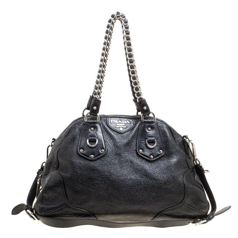 Prada Black Shimmering Leather Top Handle Bag For Sale at 1stdibs c5f14f7ada547