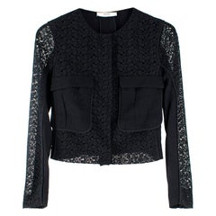 Prada Black Short Tailored Lace Jacket M UK10