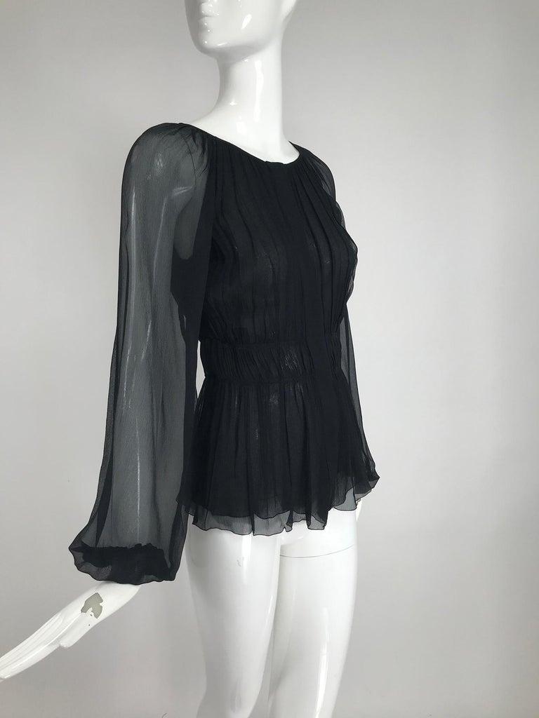 Prada Black Silk Chiffon Blouse For Sale 6