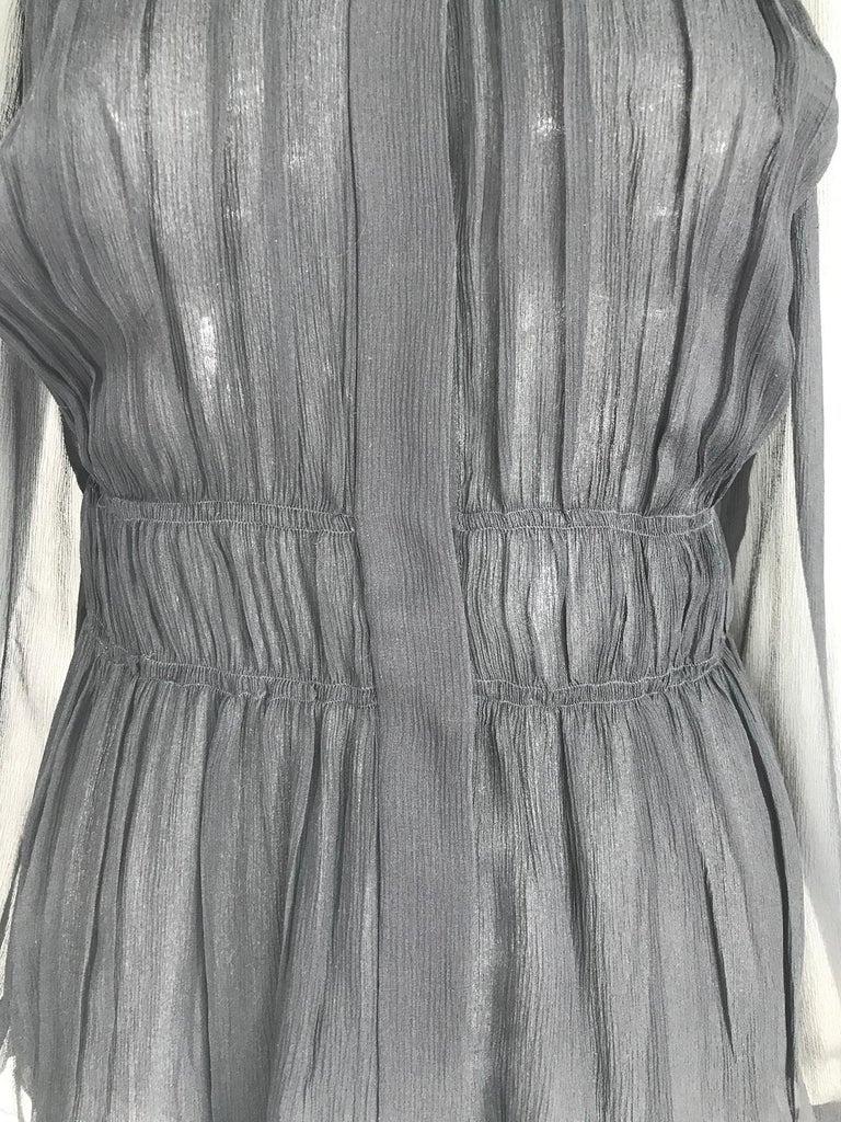 Prada Black Silk Chiffon Blouse For Sale 7