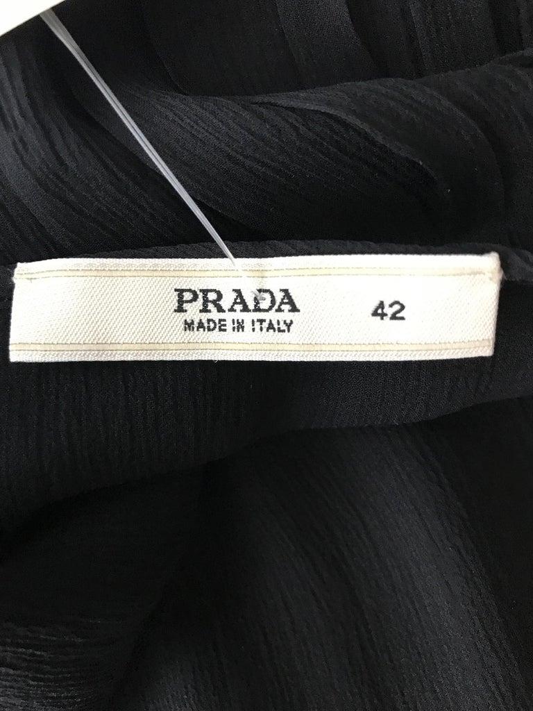 Prada Black Silk Chiffon Blouse For Sale 9