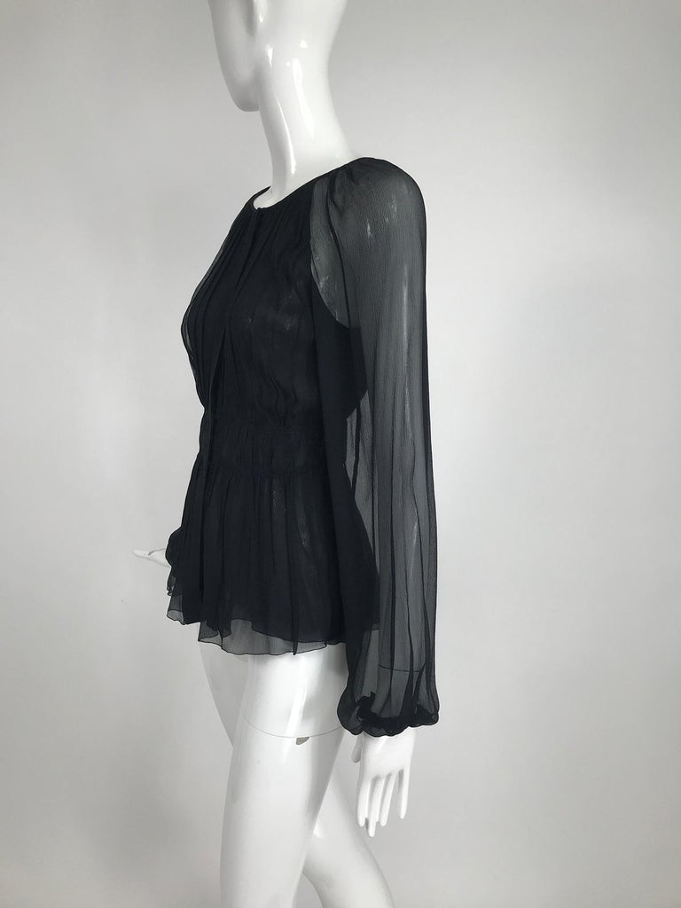 Prada Black Silk Chiffon Blouse In Excellent Condition For Sale In West Palm Beach, FL