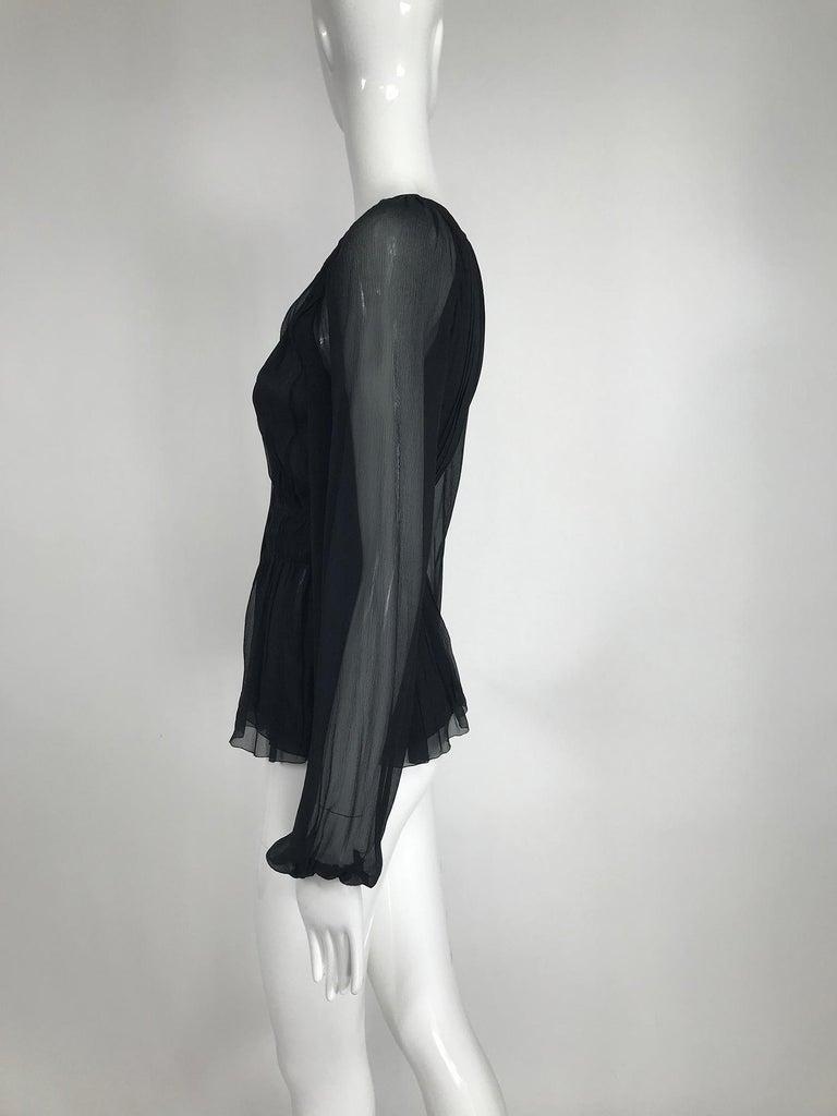 Women's Prada Black Silk Chiffon Blouse For Sale