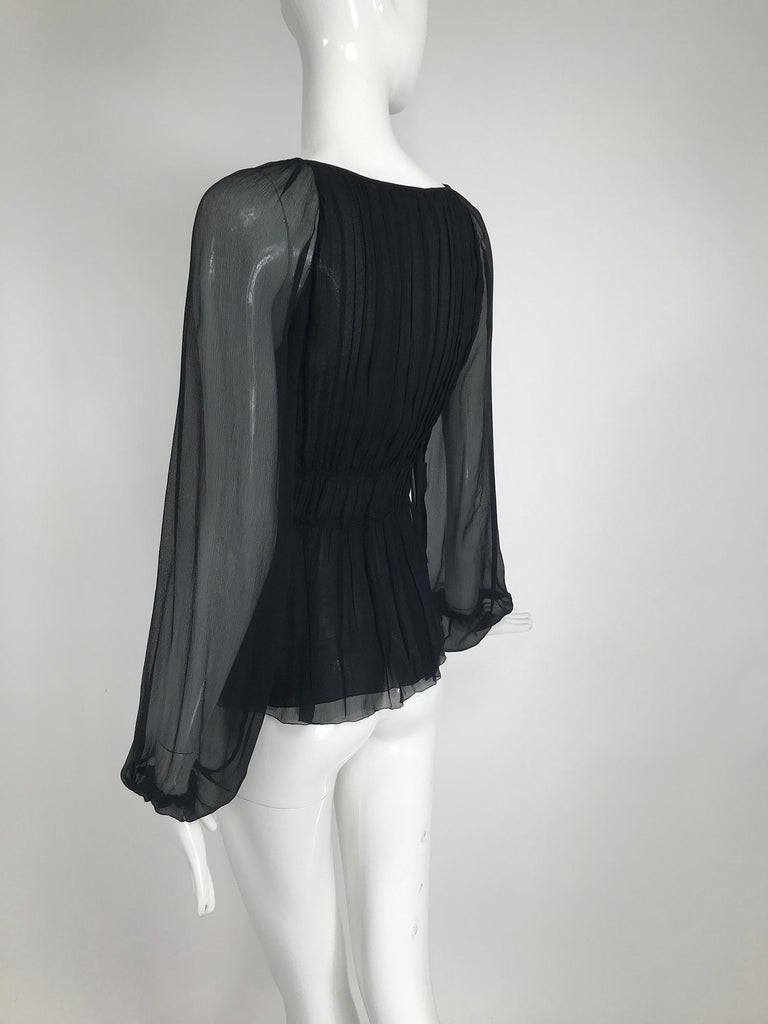 Prada Black Silk Chiffon Blouse For Sale 1