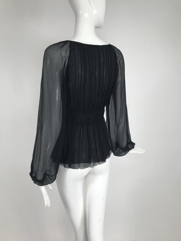 Prada Black Silk Chiffon Blouse For Sale 2