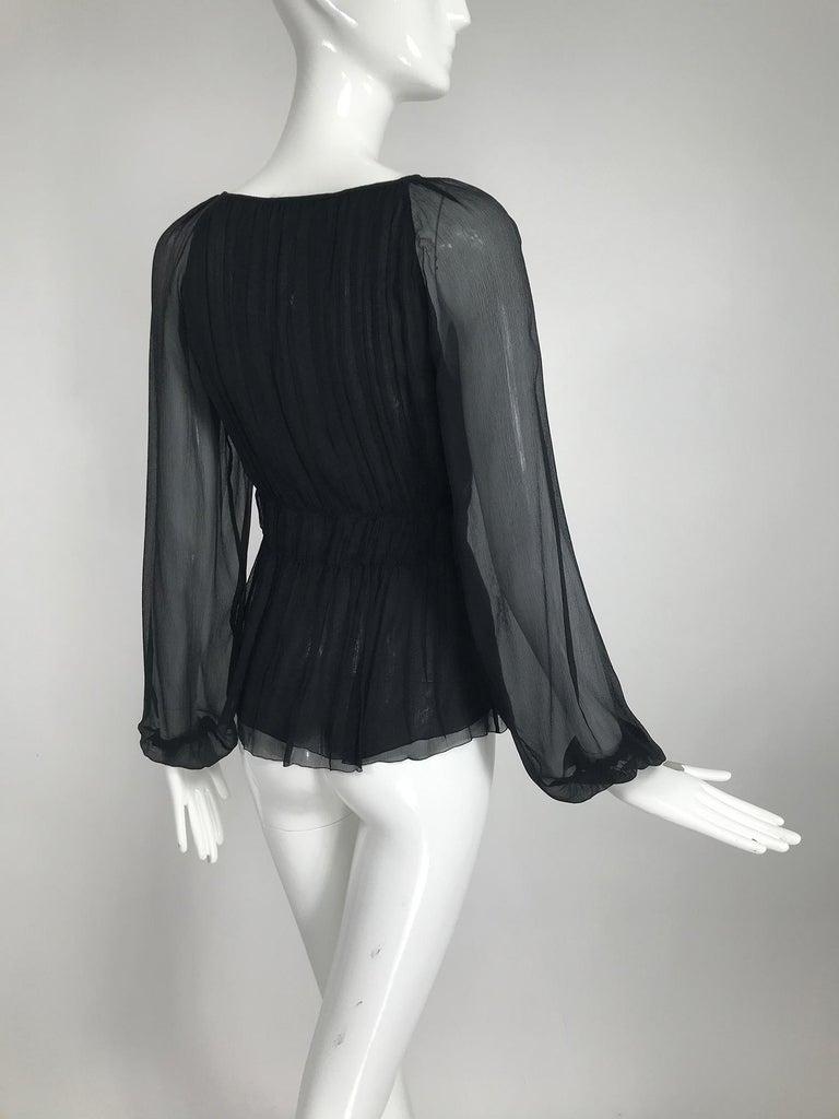Prada Black Silk Chiffon Blouse For Sale 4