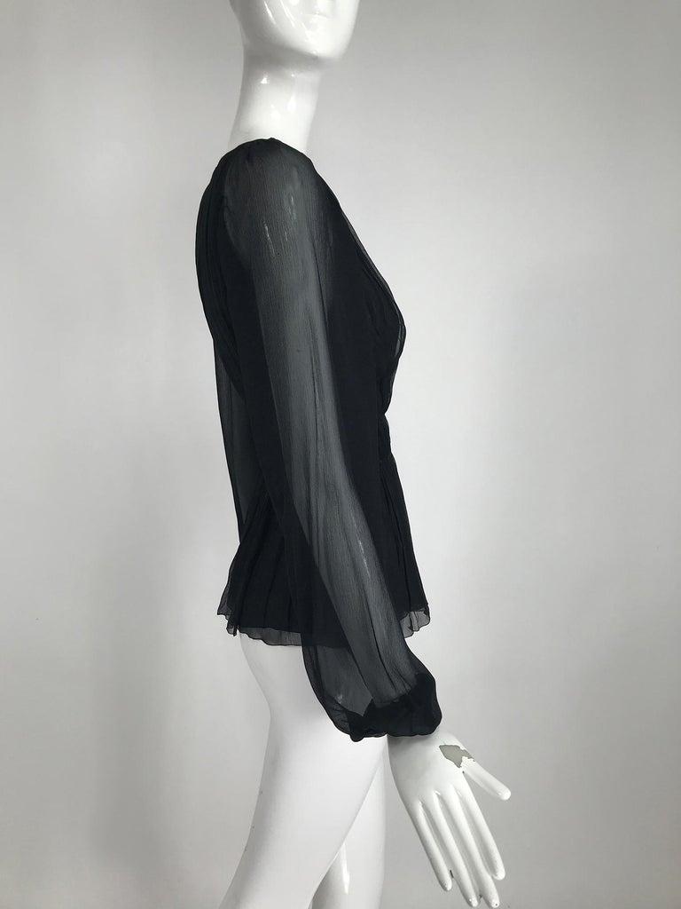 Prada Black Silk Chiffon Blouse For Sale 5