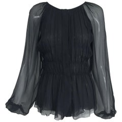 Prada Black Silk Chiffon Blouse