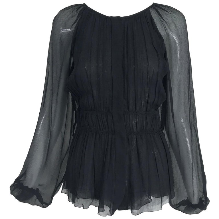 Prada Black Silk Chiffon Blouse For Sale