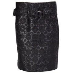 PRADA black silk & cotton BELTED BROCADE Skirt 42 M