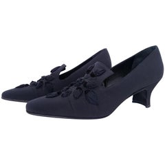 Prada Black Silk Heels with Petals Designed Details in the front. Size 39 1/2