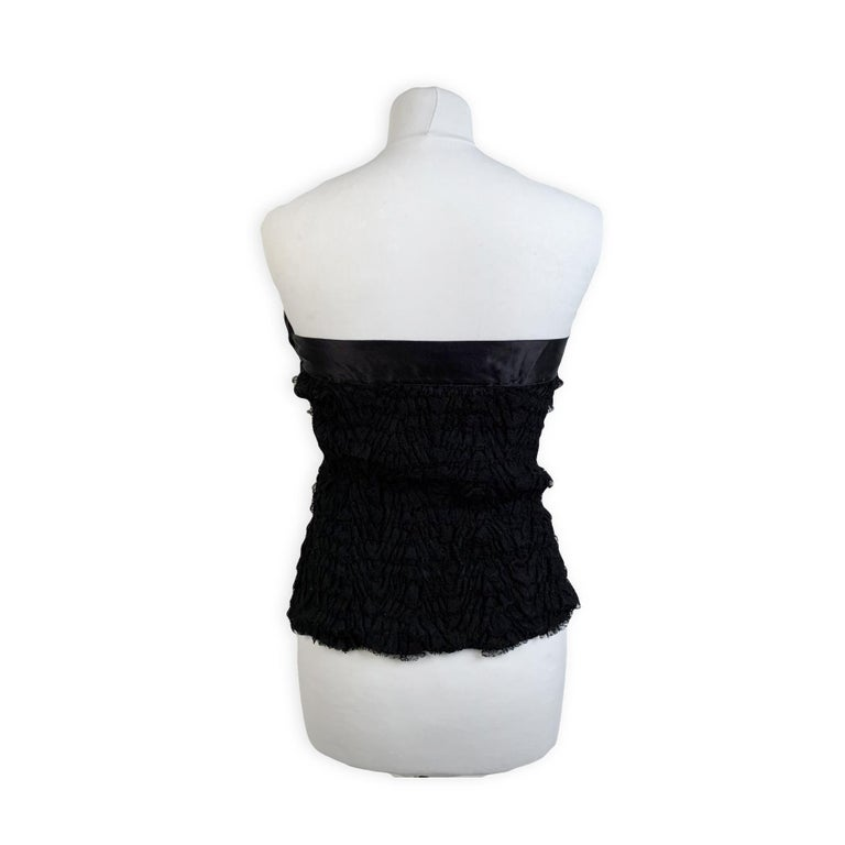 Women's Prada Black Silk Lace Bustier Strapless Top with Bow Size 40 For Sale