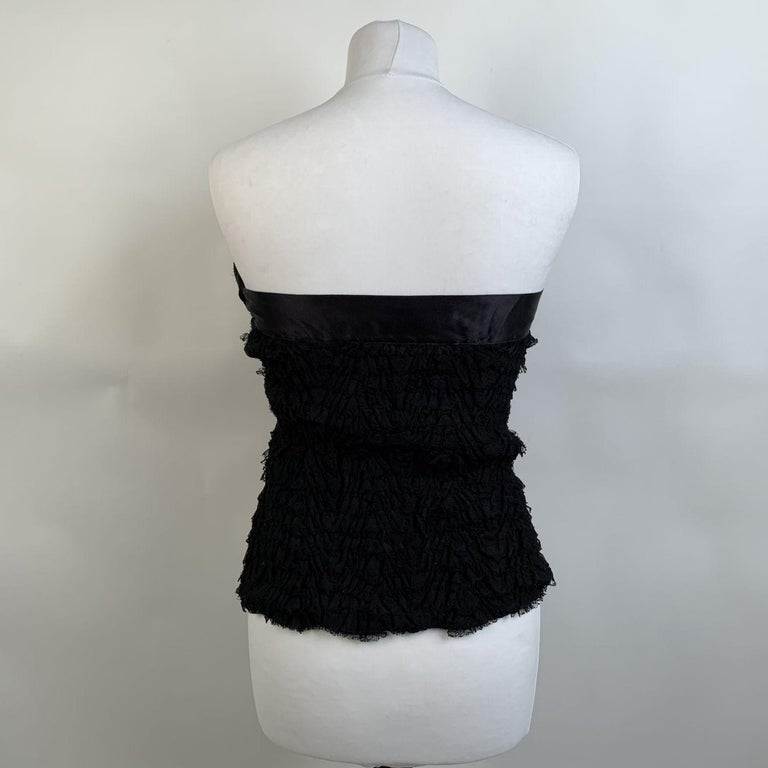Prada Black Silk Lace Bustier Strapless Top with Bow Size 40 For Sale 1