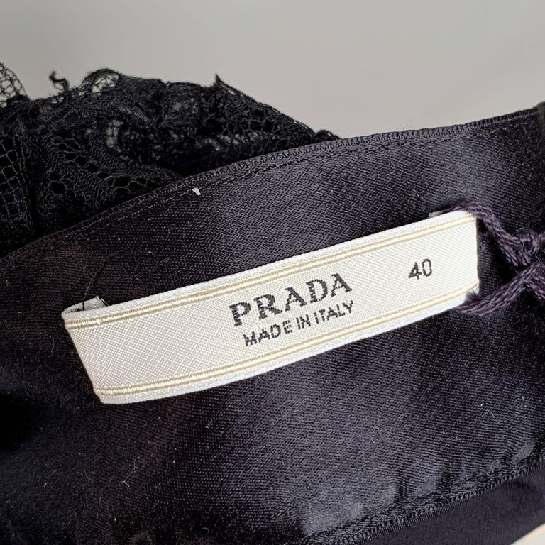 Prada Black Silk Lace Bustier Strapless Top with Bow Size 40 For Sale 2