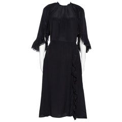 Prada Black Silk Lace Trim Ruffled Midi Dress M